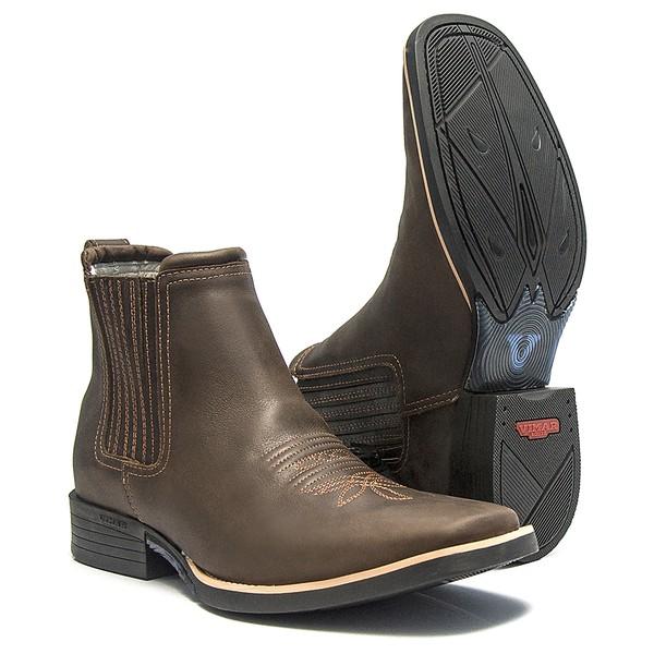 Botina Masculina - Dallas Brown - Roper - Bico Quadrado - Cano Curto - Solado Freedom Flex - Vimar Boots - 82051-B-VR