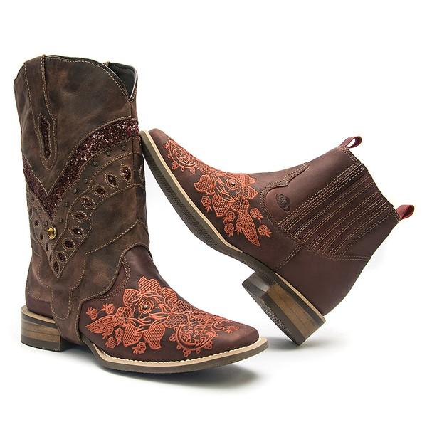 Botina Feminina 2 em 1 - Dallas Bordô - Roper - Bico Quadrado - Solado Nevada - Com Polaina Pinhão - Vimar Boots - 12175-A-VR-PL001