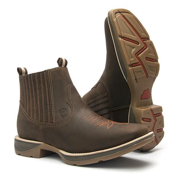 Botina Masculina - Crazy Horse Café - Roper - Bico Quadrado - Cano Curto - Solado PX Flex - Bulls Horse - 51002-A-BU