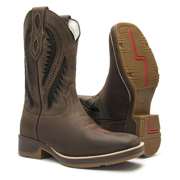 Bota Texana Masculina - Crazy Horse Café / Café / Airtek Preto - Roper - Bico Quadrado - Cano Médio - Solado Strong Shock - Vimar Boots - 81278-A-VR