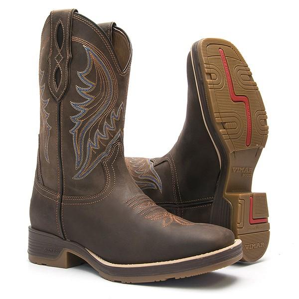 Bota Texana Masculina - Crazy Horse Café / Café - Roper - Bico Quadrado - Cano Médio - Solado Strong Shock - Vimar Boots - 81282-A-VR