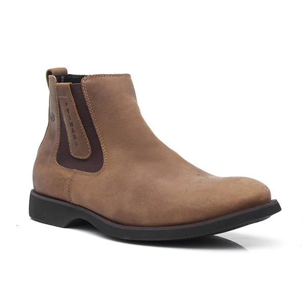 Botina Masculina - Mustang Oil Tan - Comfort - Bico Redondo - Cano Curto - Solado Gel Dress - Vimar Boots - 87013-B-VR