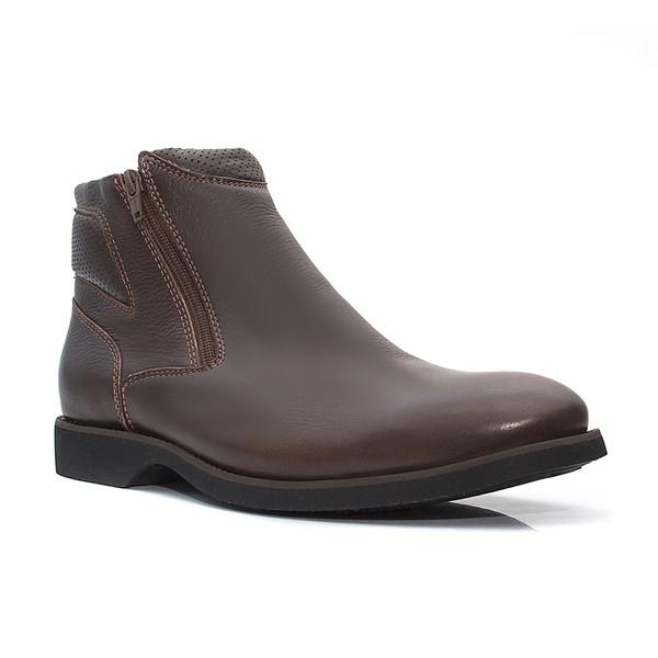 Botina Masculina - Floather Brown / Café - Comfort - Bico Redondo - Cano Curto - Solado Gel Dress - Vimar Boots - 87014-A-VR