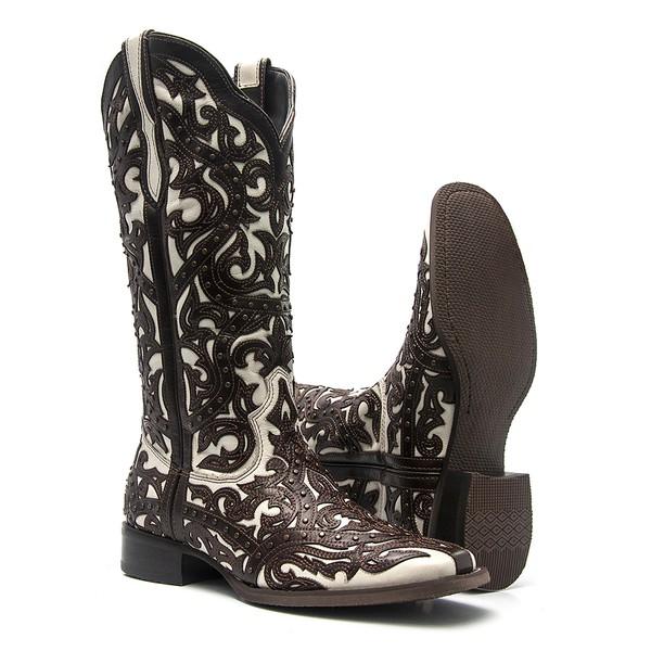 Bota ALINE KASSAB - Texana Feminina - Mustang Café / Floather Fly Marfim - Roper - Bico Quadrado - Cano Longo - Solado Nevada - Vimar Boots - 13103-A-VR