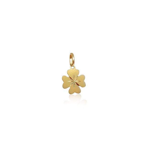 Pingente Trevo de quatro folhas mini em ouro 18k