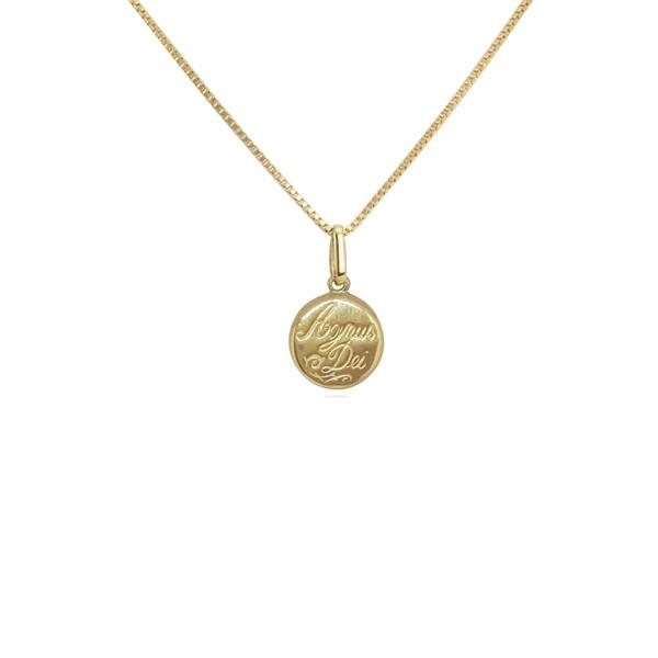 Pingente Agnus dei grande em ouro 18k