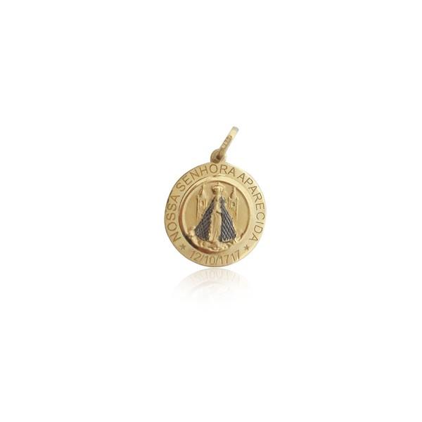 Pingente de Nossa Senhora aparecida Redonda com ródio negro em ouro 18k