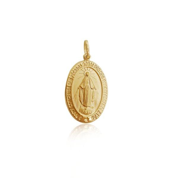 Pingente de Nossa Senhora das Graças Oval em ouro 18k