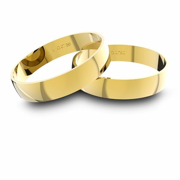 Alianças em Ouro 18k amarelo (4.00 mm de largura)