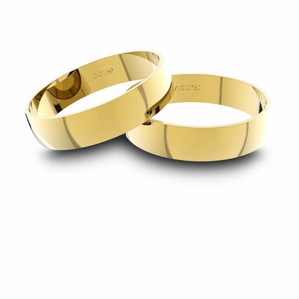 Alianças em Ouro 18k amarelo (4.50 mm de largura)