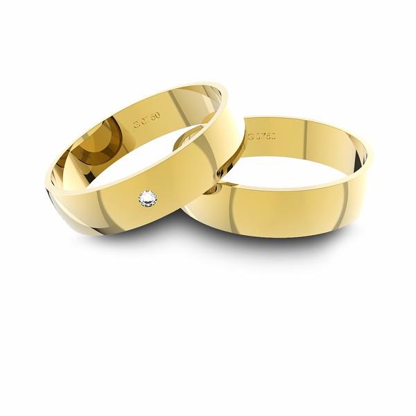 Alianças em Ouro 18k amarelo com Diamante (4.70 mm de largura)