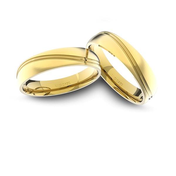 Alianças em Ouro 18K amarelo fosco Anatômicas (5.00 mm de largura)