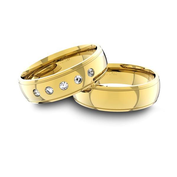 Alianças em Ouro 18K amarelo Anatômicas com Diamantes (6.00 mm de largura)