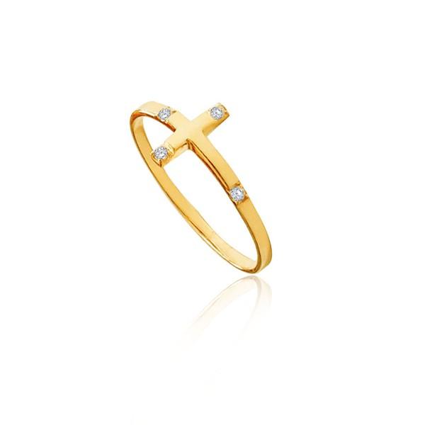 Anel em Ouro 18k amarelo de Cruz com 4 diamantes sintéticos