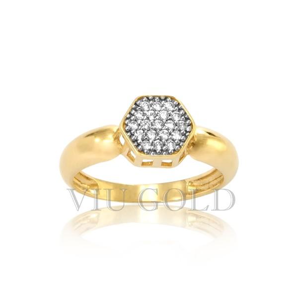 Anel Hexágono em ouro 18k amarelo e branco com Diamante sintético