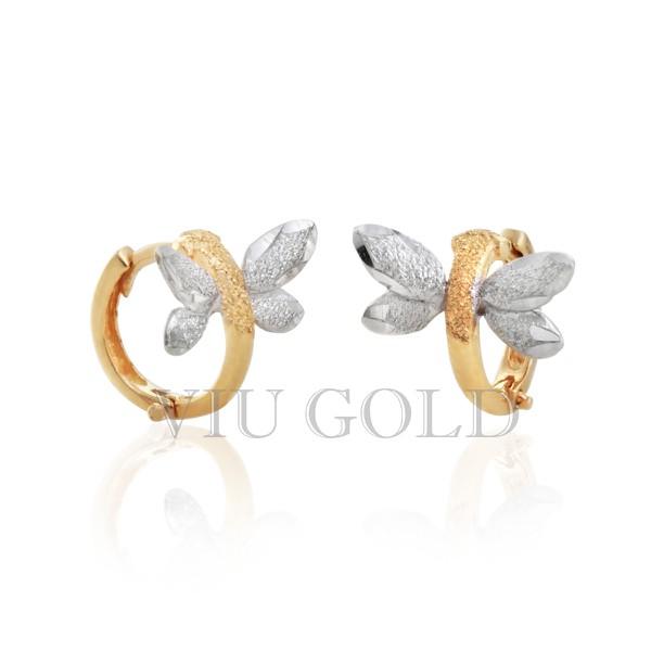 Brinco Libélula de argola com trava em ouro 18k amarelo e branco nas asas