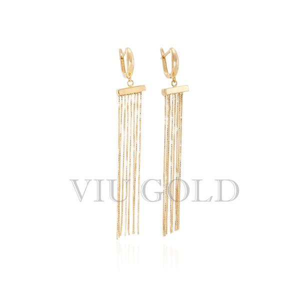 Brinco de trava em ouro 18k amarelo com correntes venezianas