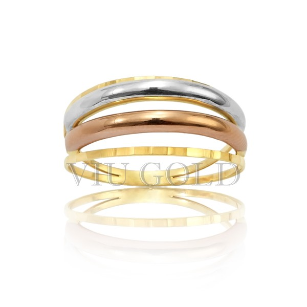 Anel com aro duplo em ouro 18k amarelo, branco, e rose