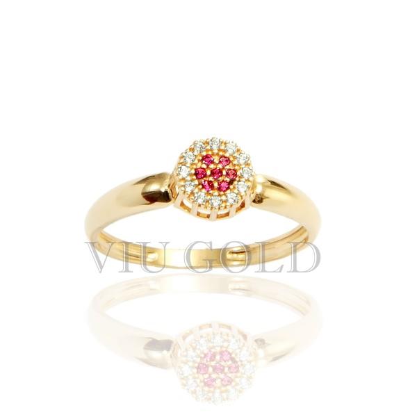 Anel em ouro 18k amarelo com Diamante sintético e Rubi sintético