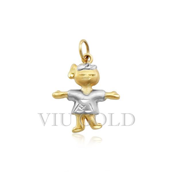 Pingente de menina em ouro 18K amarelo, Branco
