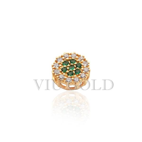 Pingente Ponto de luz em ouro 18K amarelo com Diamantes sintéticos e Esmeralda sintética