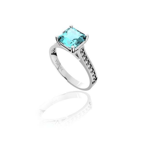 Anel em Ouro 18K Branco com Topázio azul e Diamantes (Veja o vídeo)