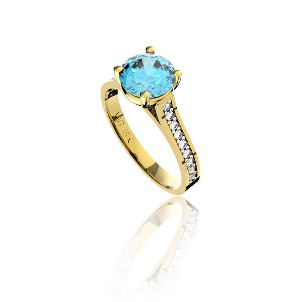 Anel em Ouro 18K Amarelo com Topázio azul e Diamantes (Veja o vídeo)