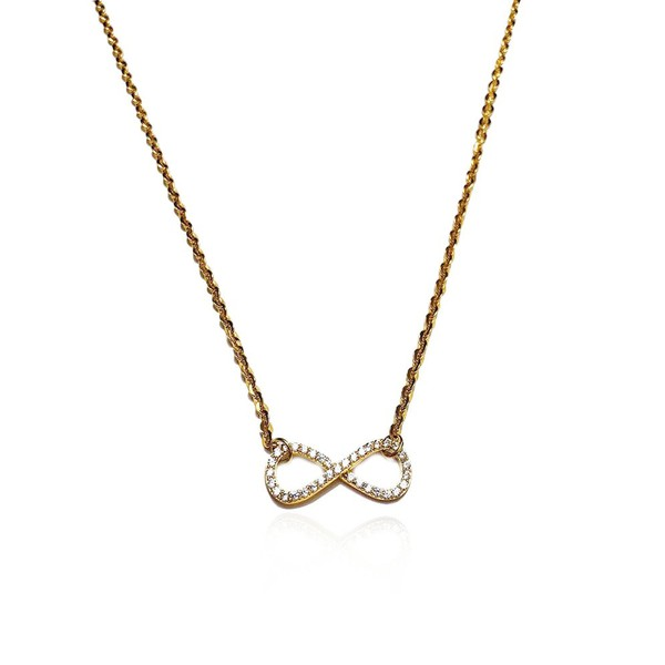 Gargantilha em ouro 18 k -Infinito na corrente bailarina com diamantes sintéticos