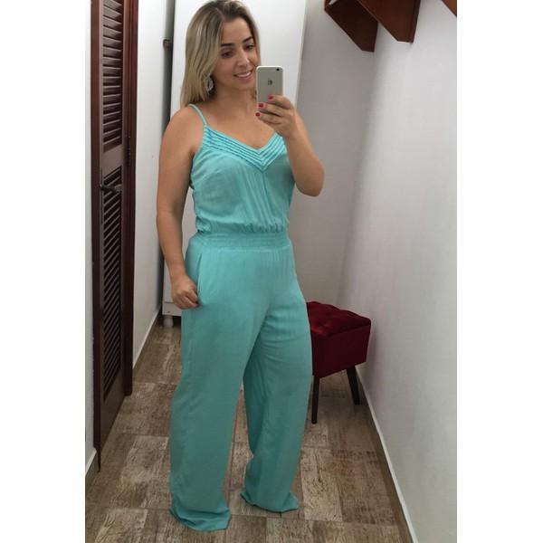 MACACÃO FEMININO AZUL TURQUESA