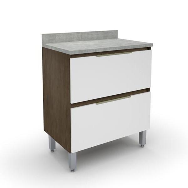 Gabinete Para Cozinha 2 Gavetões 5177-18 New Madeirado/Branco - Batrol Móveis