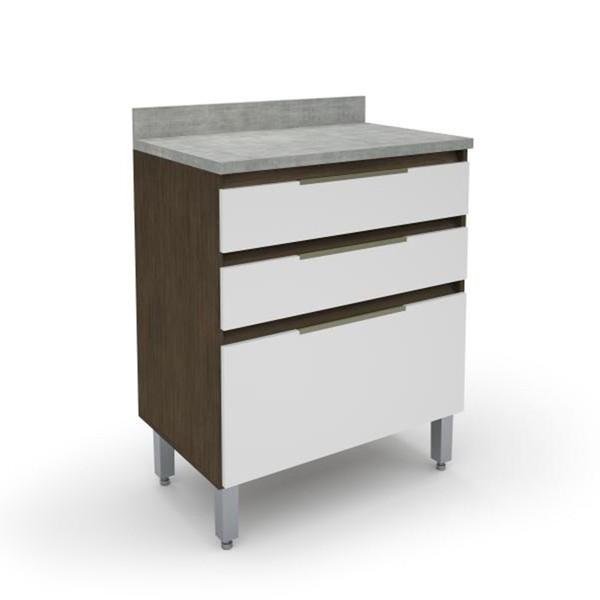 Gabinete Para Cozinha 2 Gavetas 1 Gavetão New 5178.18 Madeirado/Branco - Batrol Móveis