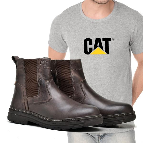 Bota Farmer Café + Camiseta Cinza