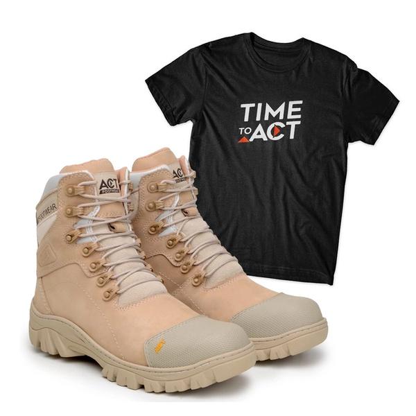 Bota ACT 9820 Military Nude + Camiseta Preto
