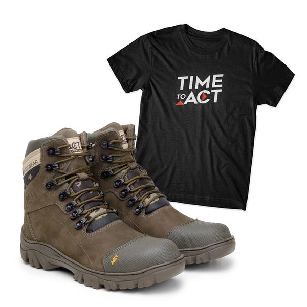 Bota ACT 9820 Military Oliva + Camiseta Preto