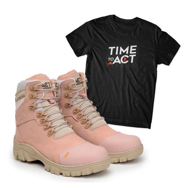 Bota ACT 9820 Military Rosa + Camiseta Preto
