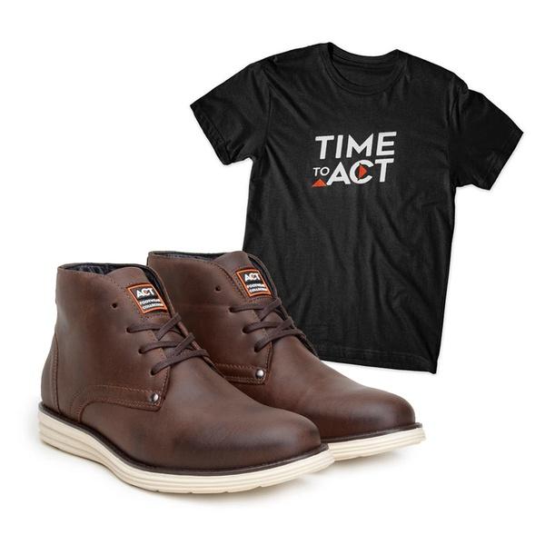 Bota ACT Classic Café + Camiseta Preto