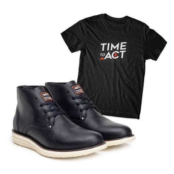 Bota ACT Classic Preto + Camiseta Preto