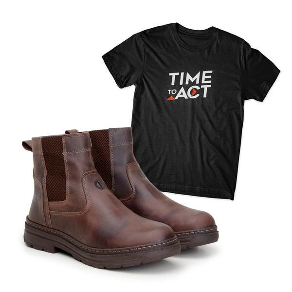 Bota Farmer Act Café + Camiseta Preta