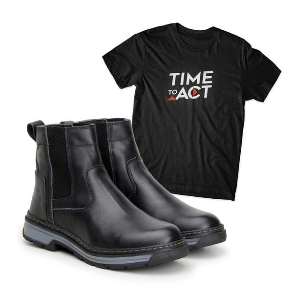 Bota Farmer Act Preto + Camiseta Preta