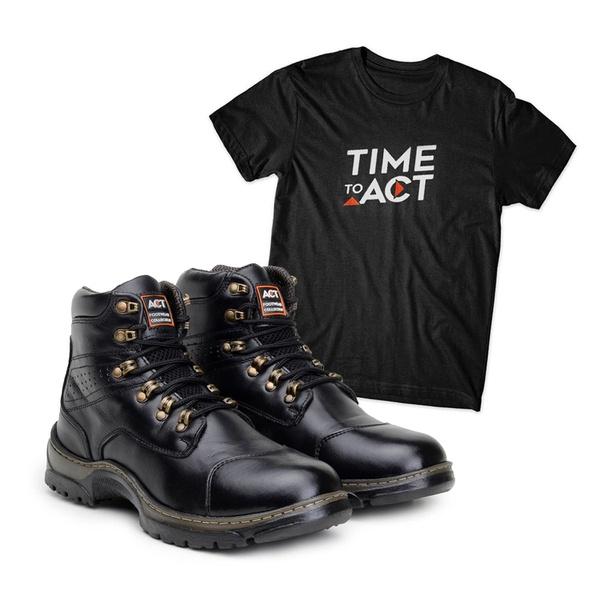 Bota ACT Guerrilha 2189 Preto + Camiseta Preto
