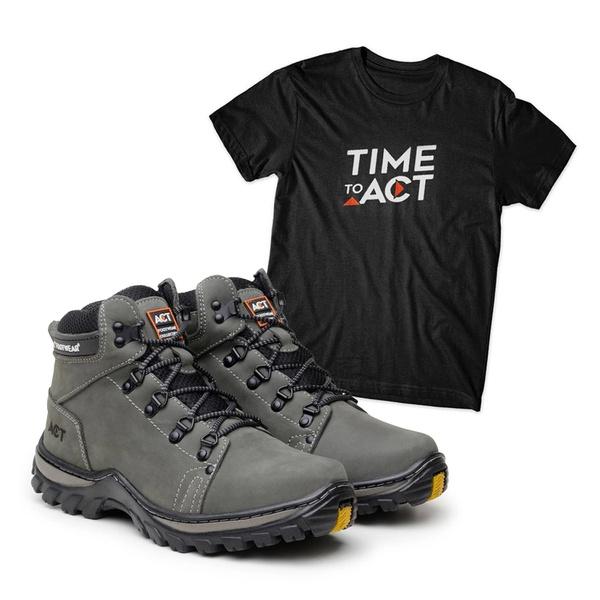 Kit Bota ACT Robust Cinza + Camiseta Preta
