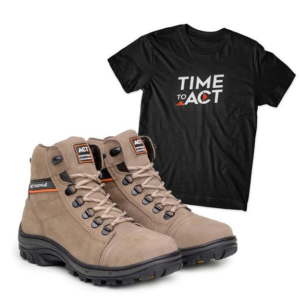 Bota ACT Scavator Areia + Camiseta Preto