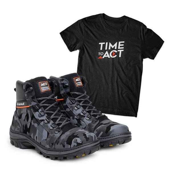 Bota ACT Scavator Camuflado + Camiseta Preto