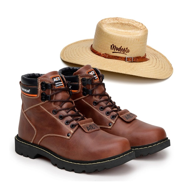 Bota ACT Second Shift Crazy Horse + Chapeu de Palha