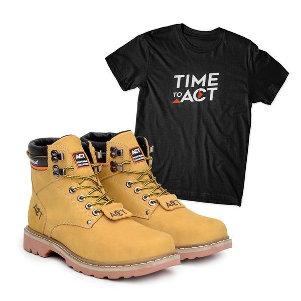 Bota ACT Second Shift Milho + Camiseta Preto