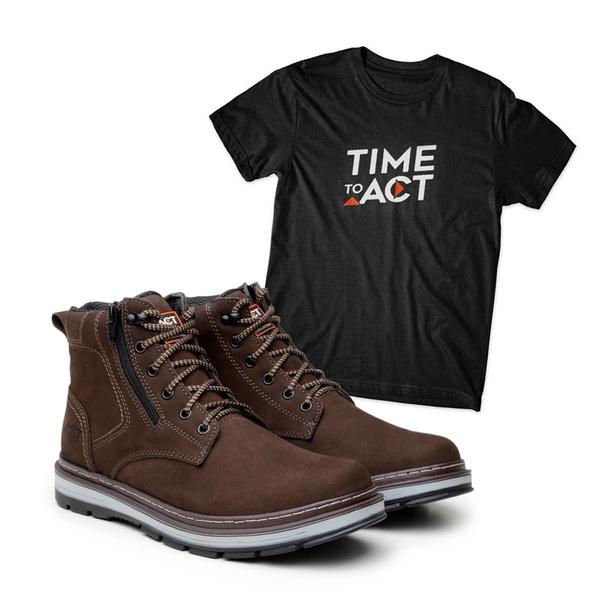 Bota ACT Zip One Café + Camiseta Preto