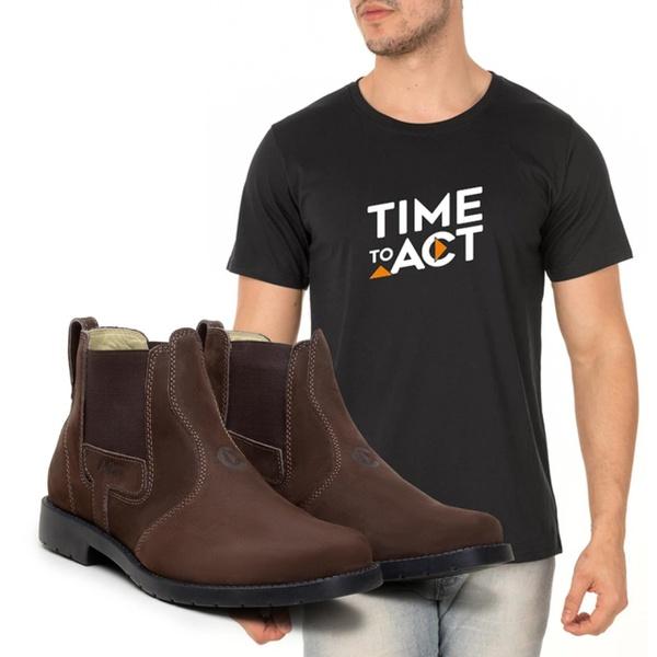 Kit Botina ACT Agro Chocolate- Camiseta Preta
