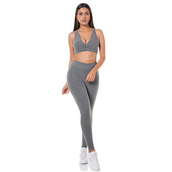 Kit Top + Calca Legging Cinza Feminino Adaption