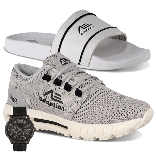 Kit Tênis Masculino Adaption Ax900 + Chinelo+relogio brinde slide cinza e branco