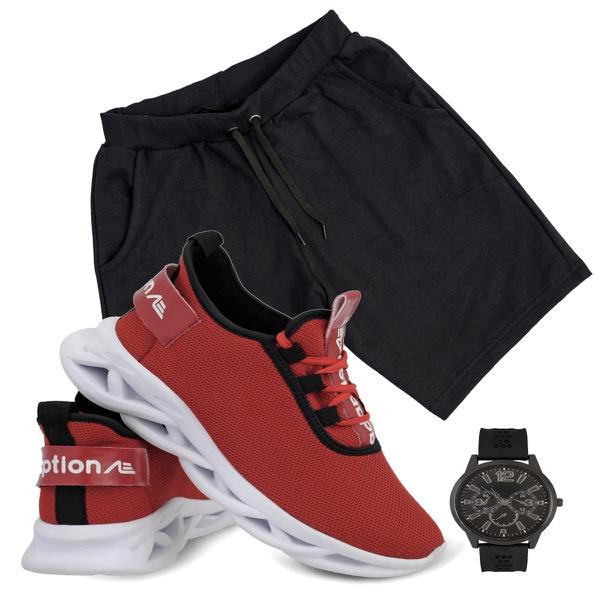 Kit Bermuda Moletinho preto e Tênis limited vermelho+ Relogio